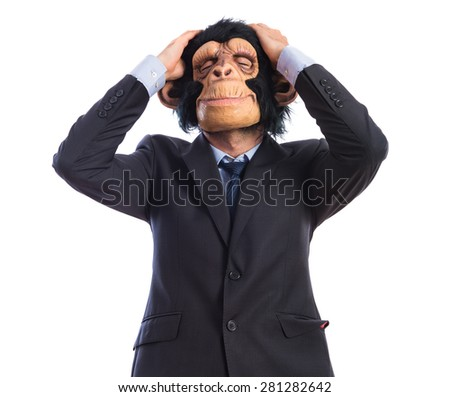 frustrated monkey man over white background  - stock photo