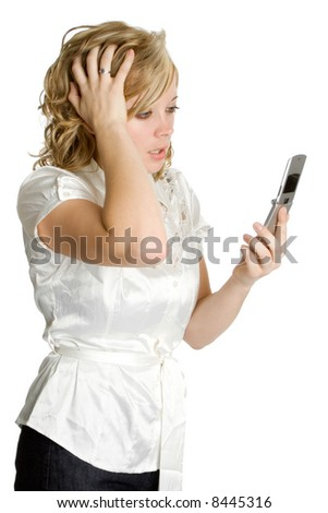 Frustrated Phone Woman - stock photo