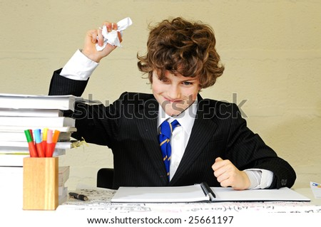 frustrated school boy - stock photo