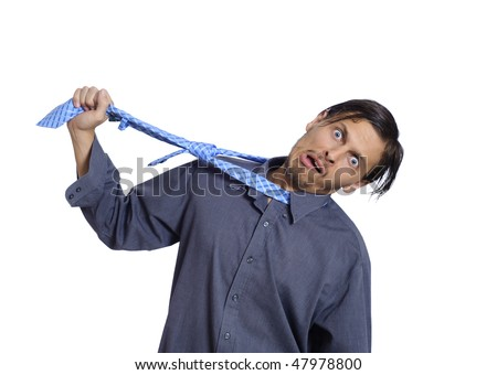 Frustrated worker wants to hang himself - stock photo