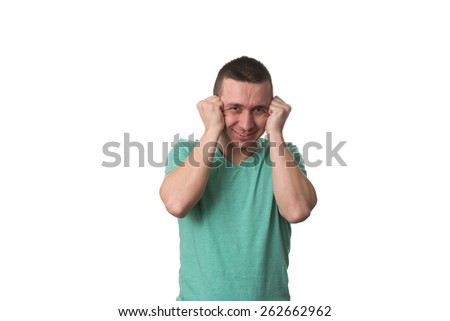 Frustrated Young Man With A Headache - Isolated Over White Background - stock photo