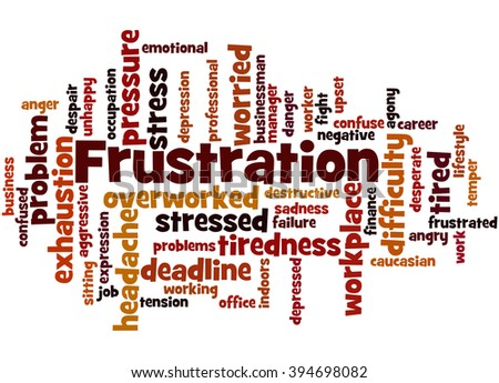 Frustration, word cloud concept on white background.  - stock photo