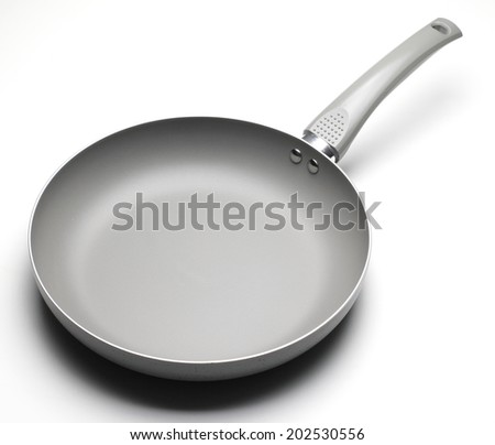 Fry Pan Ceramic Coating in White background - stock photo