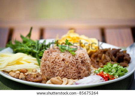 fry  rice with the shrimp paste, Thai food - stock photo