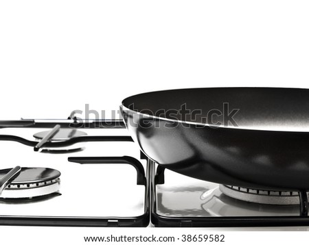 frying pan at the white gas stove over the white background