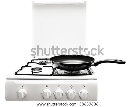 frying pan at the white gas stove over the white background - stock photo