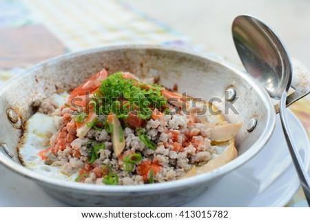frying pan egg dish  - stock photo
