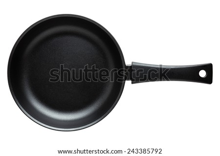 Frying pan isolated on white - stock photo