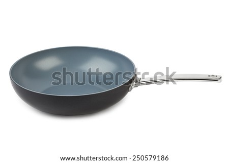 Frying pan isolated on white background - stock photo