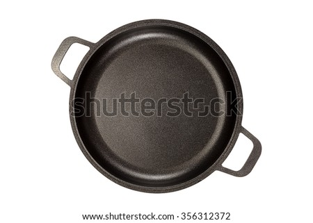 Frying pan isolated on white background. - stock photo