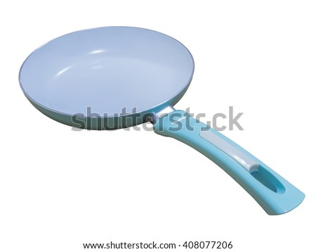 Frying pan isolated on white background with clipping path. - stock photo