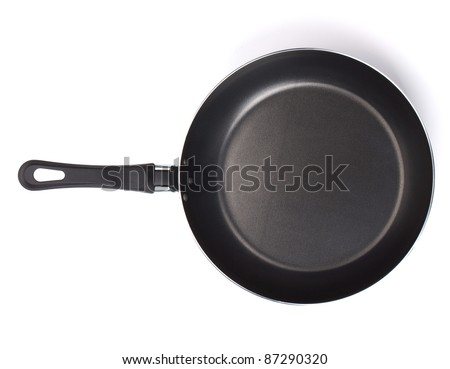 Frying pan. View from above. Isolated on white background - stock photo