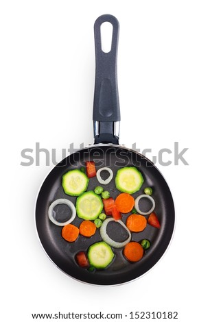Frying pan with vegetables isolated on white background - stock photo