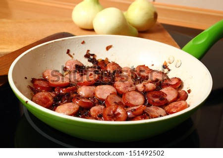 Frying Sliced Sausage