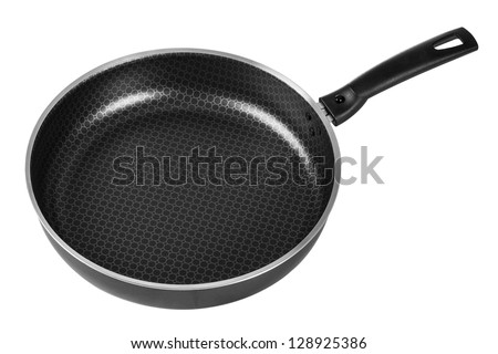 Frypan with handle isolated on white background - stock photo