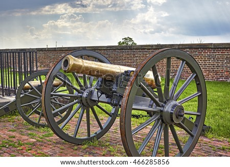 Ft. Washington, Maryland, USA - June 1, 2016: Cannons on display at Fort Washington,a Military fort established in the 1800's to protect Washington DC