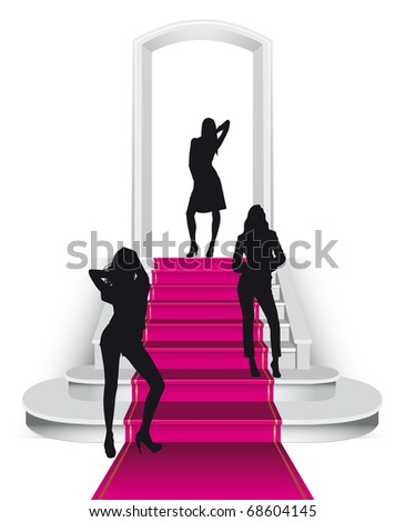 Fuchsia carpet staircase with three misses - stock photo