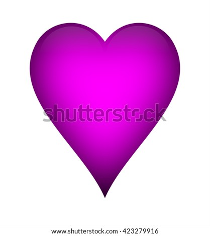 Fuchsia pink heart, isolated over a white background. - stock photo