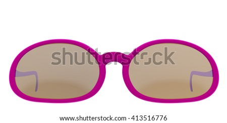 Fuchsia sun glasses isolated on white background. Include clipping path. 3D render - stock photo