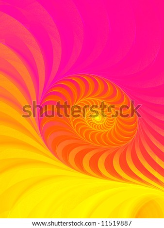 Fuchsia to Yellow Neon Spiral - stock photo