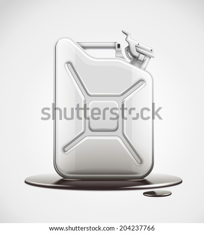 fuel can for petrol in black oil pool. Rasterized illustration. - stock photo