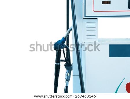 Fuel dispenser. dispenser pumping diesel or gasoline - stock photo