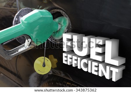 Fuel Efficient 3d words on car as a green gas nozzle fills the tank with gasoline or ethanol based additive - stock photo