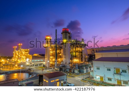 Fuel gas combine cycle power plant with twilight sky - stock photo