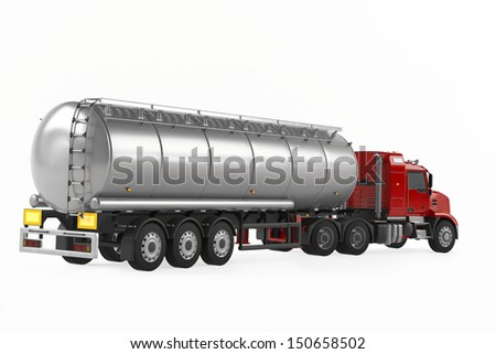 Fuel gas tanker truck back isolated - stock photo
