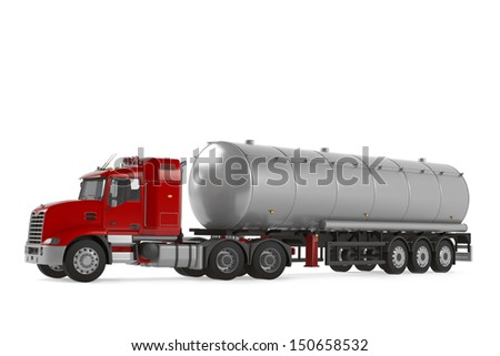 Fuel gas tanker truck isolated - stock photo