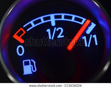 Fuel gauge close up - stock photo