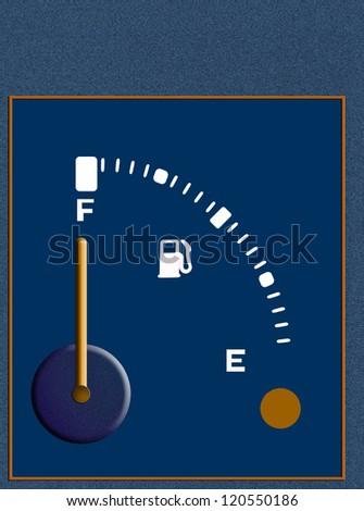 Fuel gauge full - plenty of power, background - stock photo
