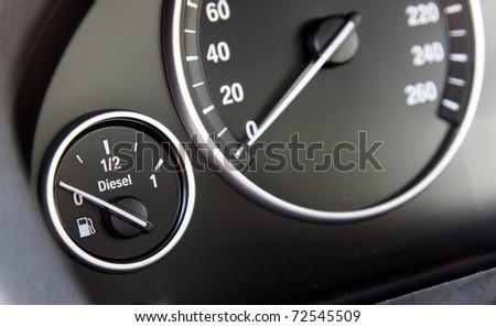 fuel gauge in the car - stock photo