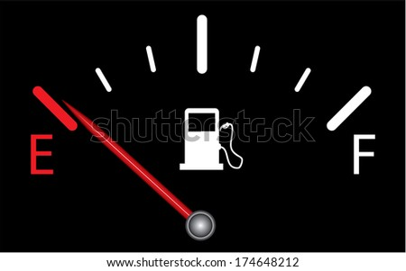 Fuel gauge on black background, indicating near empty, raster version. - stock photo