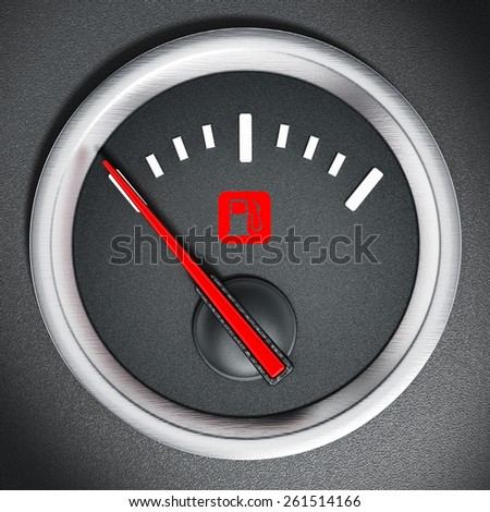 Fuel gauge with warning light indicating empty fuel tank - stock photo