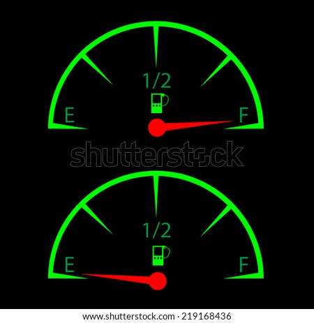 fuel gauges - empty and full concept - fuel efficiency