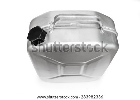 Fuel handle cistern with black cover isolated on white background
