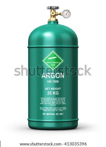 Fuel industry manufacturing business concept: 3D render illustration of green metal liquefied compressed argon gas container or cylinder with high pressure gauge meter and valve isolated on white - stock photo