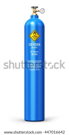 Fuel industry manufacturing business concept: 3D render of blue metal steel liquefied compressed natural oxygen gas container or cylinder with high pressure gauge meter and valve isolated on white
