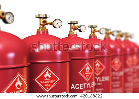 Fuel industry manufacturing business concept: 3D render of the group of red metal steel liquefied compressed natural acetylene gas containers or cylinders with high pressure gauge meters and valves
