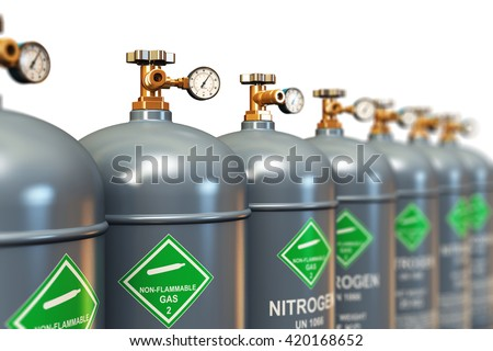 Fuel industry manufacturing concept: 3D illustration of the group of gray metal steel liquefied compressed natural nitrogen gas containers or cylinders with high pressure gauge meters and valves