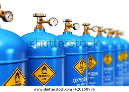 Fuel industry manufacturing concept: 3D render illustration of the group of blue metal steel liquefied compressed natural oxygen gas containers or cylinders with high pressure gauge meters and valves - stock photo