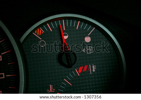 Fuel or gas gauge on a car's dashboard