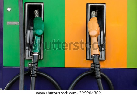 Fuel, pump, Fuel nozzle on gas station
