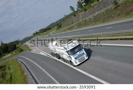 fuel-truck on the move, highway and countryside