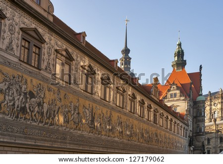 Fuerstenzug (Procession of Princes) - giant mural in Dresden, Germany - stock photo