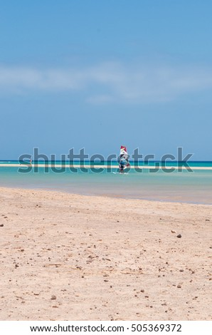Fuerteventura: a windsurf in the lagoon of Jandia beach on September 4, 2016. Jandia is one of the most famous beaches of the southeastern coast, known as surfers paradise for the strong wind
