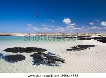Fuerteventura, rippled sand around Faro de Toston - stock photo