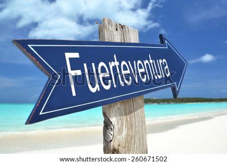 Fuerteventura sign on the beach - stock photo