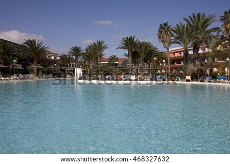 FUERTEVENTURA,SPAIN -AUGUST 19, 2016:Swimming pool of the hotel complex Barlovento Club Hotel, Playa Sotavento, Costa Calma, Fuerteventura, Canary Islands, Spain, Europe